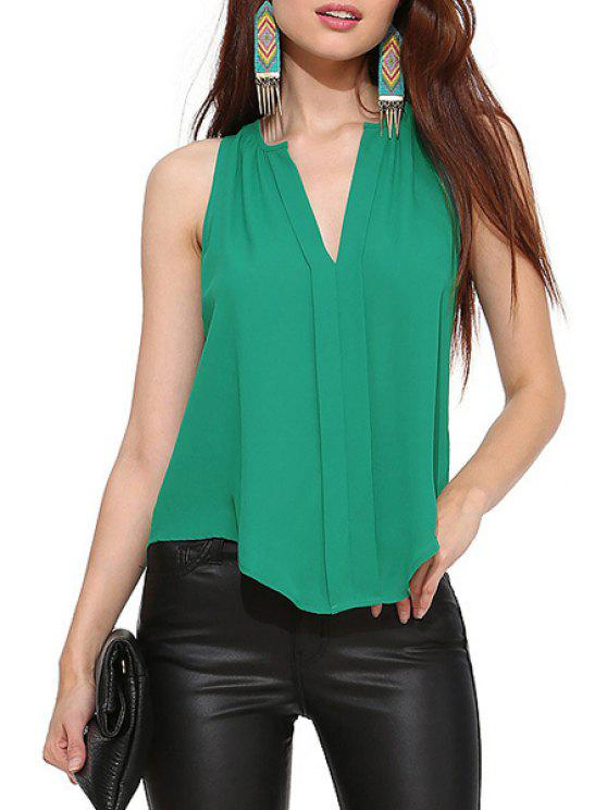 best V Neck Solid Color Asymmetrical Tank Top - GREEN XS