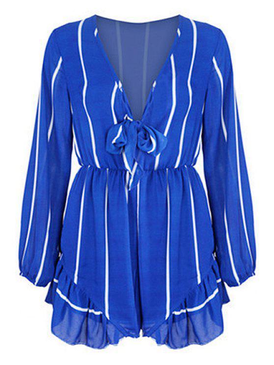 unique Long Sleeve Vertical Stripes Romper - BLUE S
