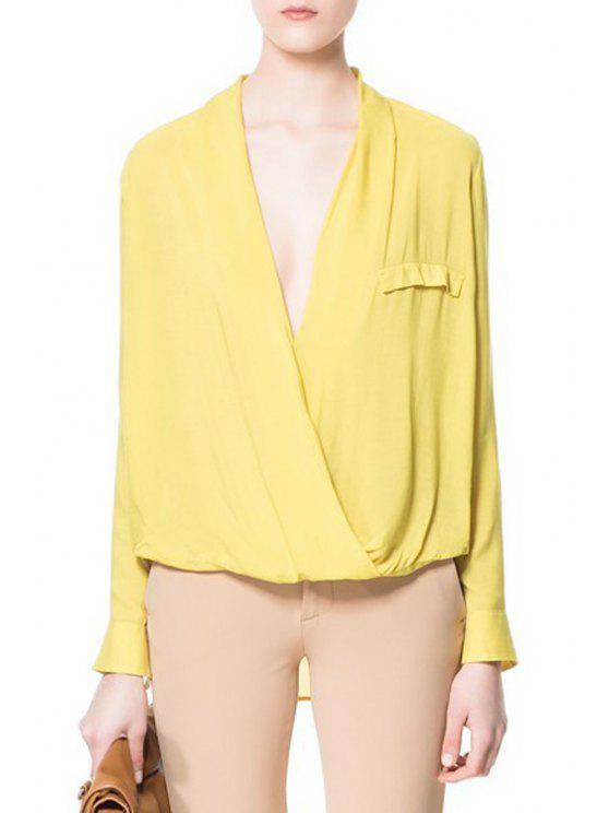 hot Cross-Over Collar Long Sleeve Blouse - YELLOW M
