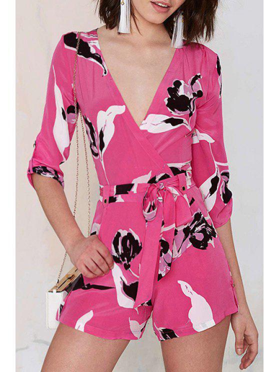 online White Black Floral Print 3/4 Sleeve Romper - RED XS