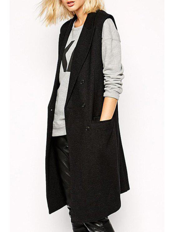 hot Lapel Solid Color Double-Breasted Sleeveless Waistcoat - BLACK XS