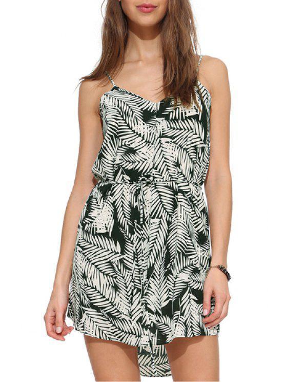 sale Spaghetti Strap White Leaves Print Sleeveless Dress - WHITE XS