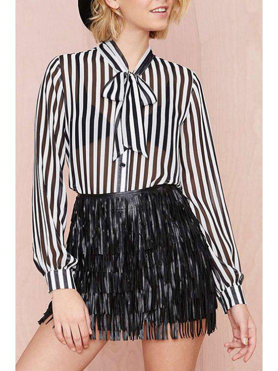buy Bow Tie Collar See-Through Stripe Shirt - WHITE AND BLACK XS