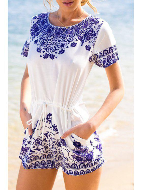 sale Blue and White Porcelain Playsuit - WHITE XS