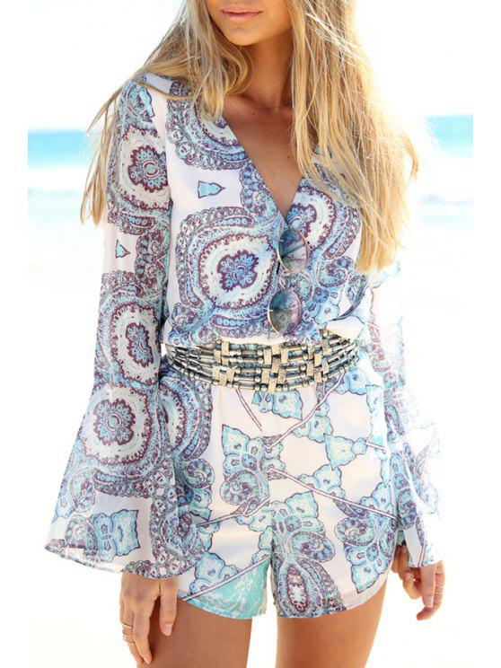 trendy Vintage Print Long Sleeve Chiffon Playsuit - WHITE S