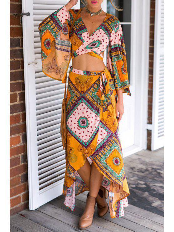 shops Flare Sleeve Self-Tie Crop Top + Asymmetric Skirt Twinset - YELLOW S