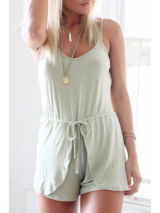 unique Pure Color Cami Backless Playsuit - GRAY S