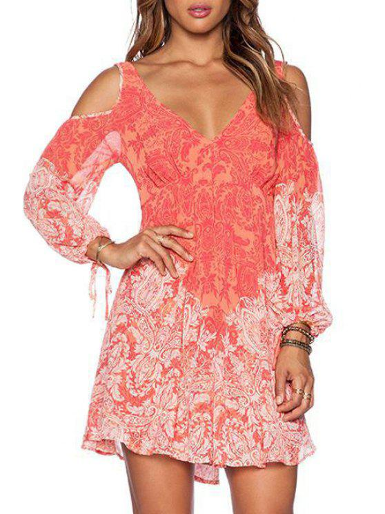 trendy Floral Print Cut Out Long Sleeve Dress - ORANGE S