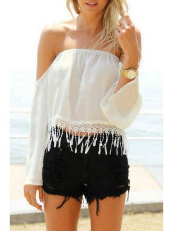 outfit White Off The Shoulder Long Sleeve Blouse - WHITE S