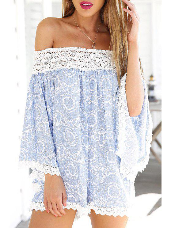latest Slash Neck Lace Edging Splicing Long Sleeve Romper - LIGHT BLUE S