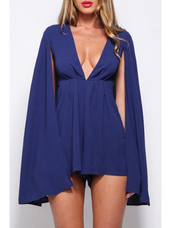 womens Pure Color Plunging Neck Chiffon Playsuit - PURPLISH BLUE S
