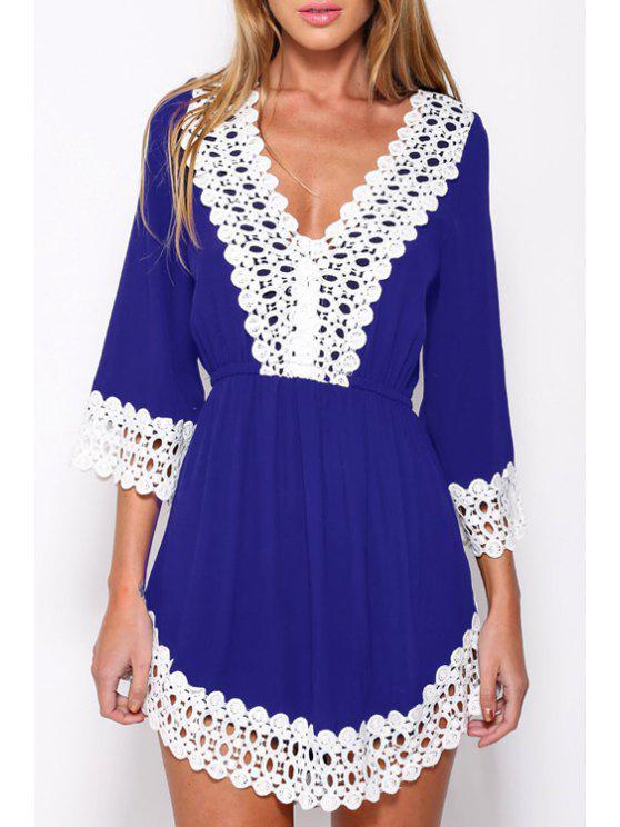 lady Deep V Neck White Lace Splicing Dress - PURPLISH BLUE S