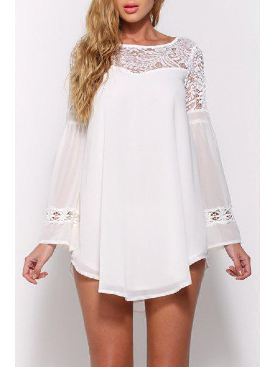 ladies Lace Spliced Long Sleeve Chiffon Dress - WHITE S