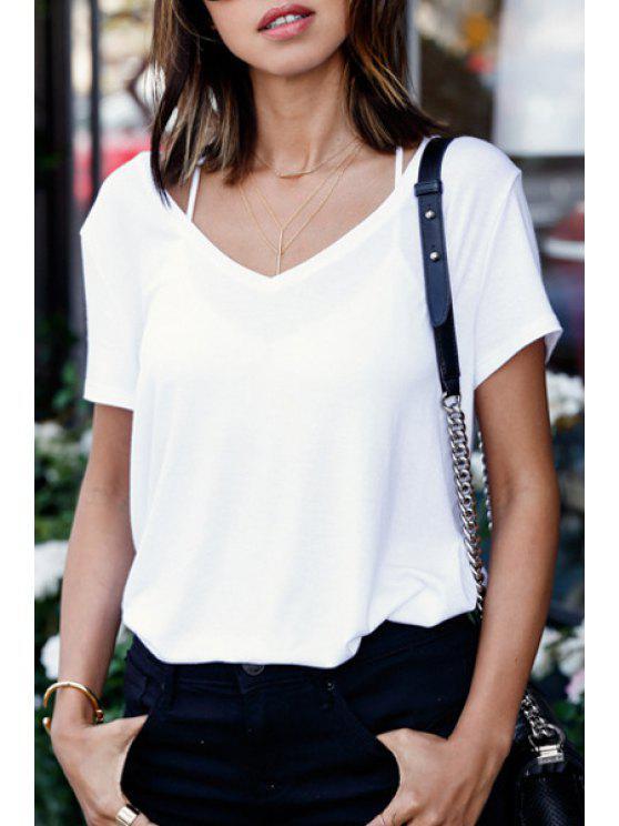 shops White Short Sleeve V Neck T-Shirt - WHITE S