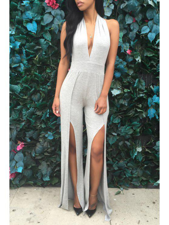 sale Halter Neck Backless High Slit Sleeveless Jumpsuit - GRAY S