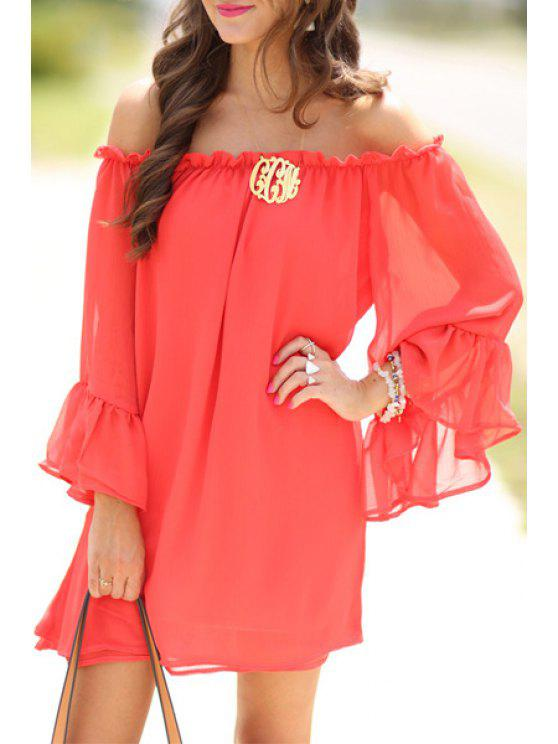 new Pure Color Off The Shoulder Chiffon Dress - WATERMELON RED S