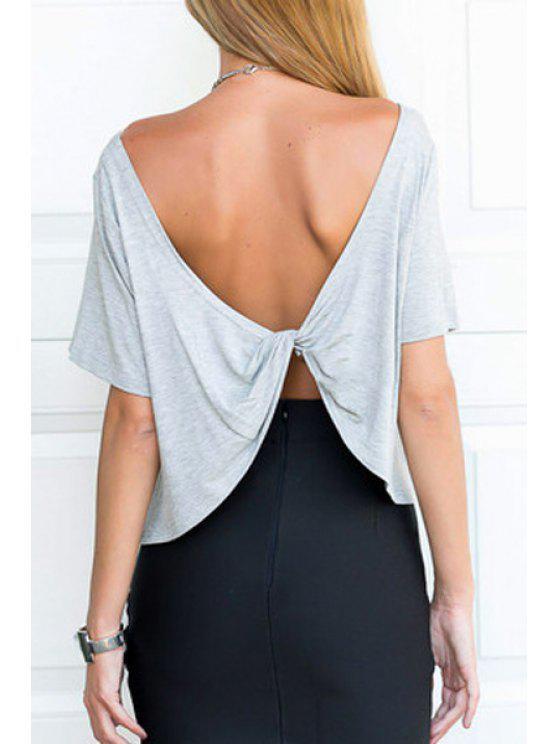 chic Gray Backless Short Sleeve T-Shirt - GRAY S