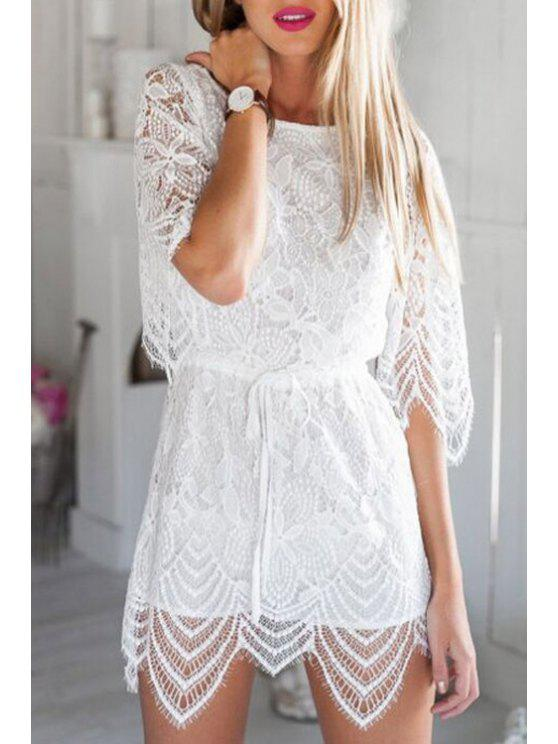 shop White Openwork Lace Hook Playsuit - WHITE M