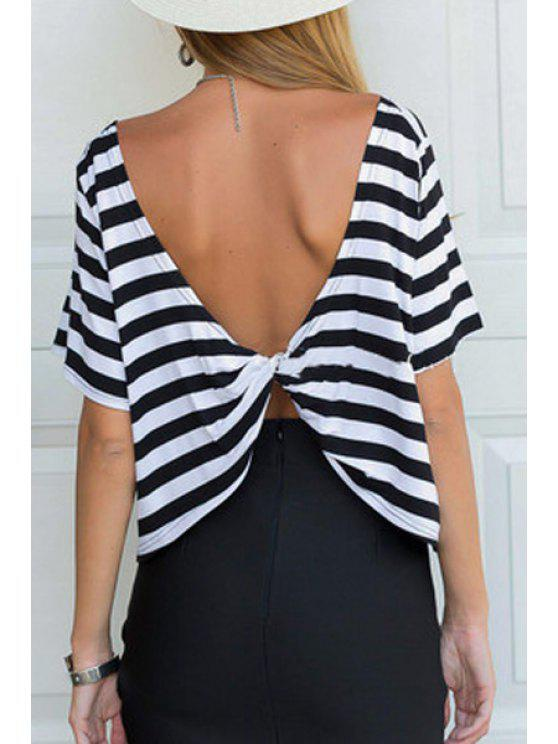 affordable Stripes Short Sleeve Backless T-Shirt - WHITE AND BLACK S
