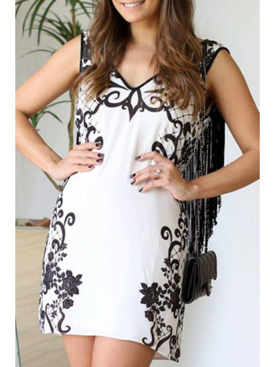 fashion Floral Print Tassels Spliced Club Dress - WHITE S