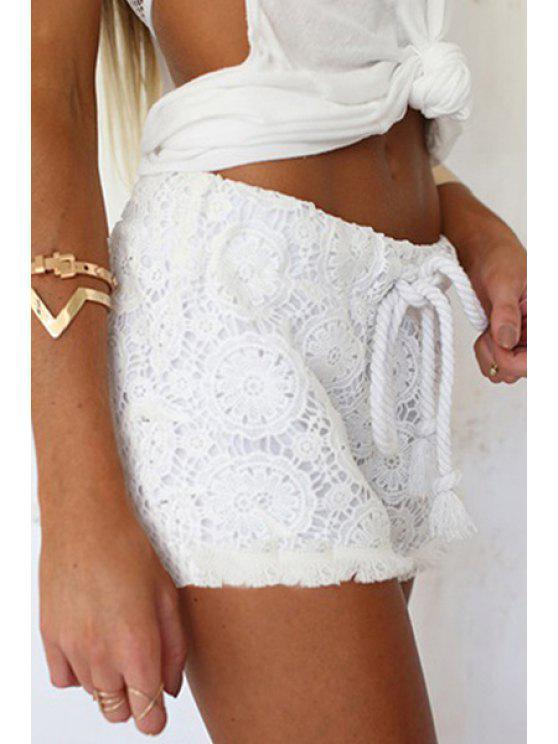 latest White Lace Elastic Waist Drawstring Shorts - WHITE ONE SIZE(FIT SIZE XS TO M)