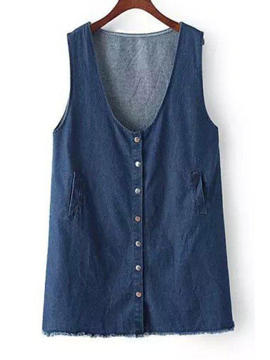 fashion Pure Color Sleeveless Denim Dress - DEEP BLUE ONE SIZE(FIT SIZE XS TO M)
