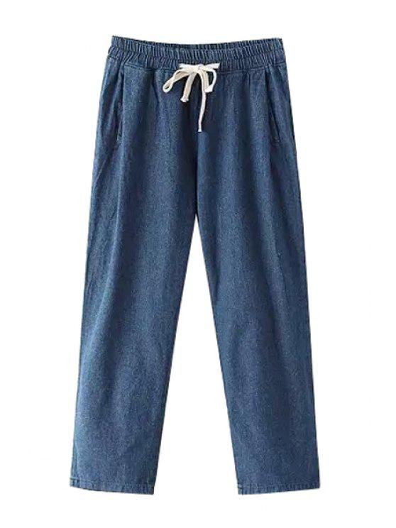 trendy Pure Color Elastic Waist Drawstring Jeans - DEEP BLUE ONE SIZE(FIT SIZE XS TO M)