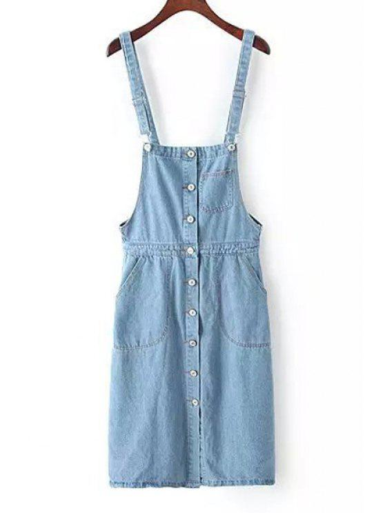fancy Denim Sleeveless Pure Color Dress - LIGHT BLUE ONE SIZE(FIT SIZE XS TO M)