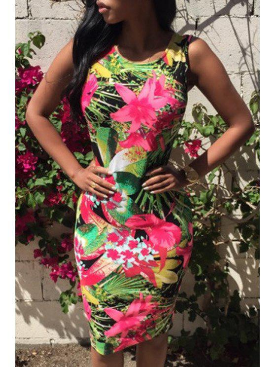 trendy Jewel Neck Floral Print Backless Sleeveless Dress - AS THE PICTURE M