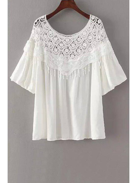shop Lace Splicing Half Sleeve T-Shirt - WHITE ONE SIZE(FIT SIZE XS TO M)