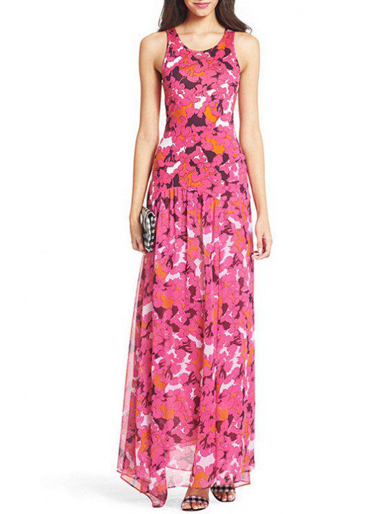lady Scoop Neck Printed High Slit Sleeveless Dress - ROSE XL