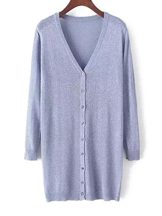womens Pure Color V Neck Nine-Minute Sleeve Cardigan - BLUE ONE SIZE(FIT SIZE XS TO M)