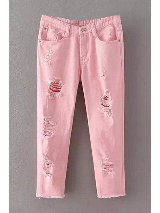 affordable Pure Color Narrow Feet Denim Capri Pants - PINK M