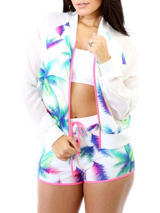 womens Colorful Printed Long Sleeve Coat + Shorts - WHITE S