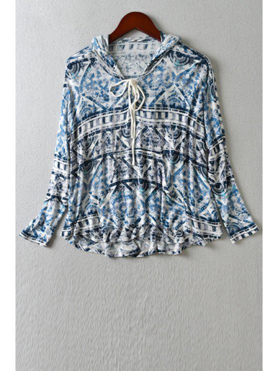 sale Geometric Print Front Pocket Hoodie - BLUE XS