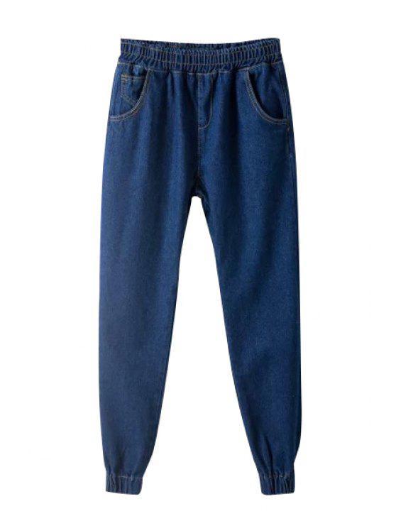 buy Deep Blue Elastic Waist Jeans - DEEP BLUE S