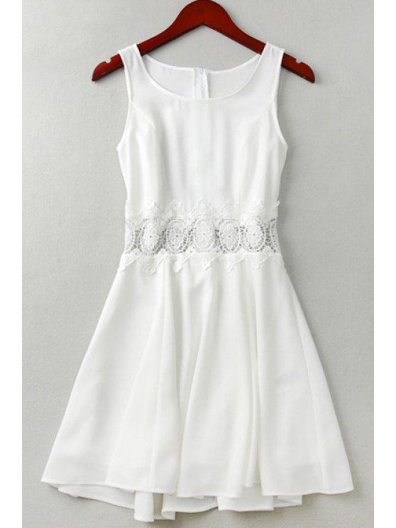 fancy Solid Color Openwork Flare Sundress - WHITE S