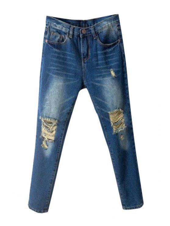 women Skinny Broken Hole Jeans - DEEP BLUE 29