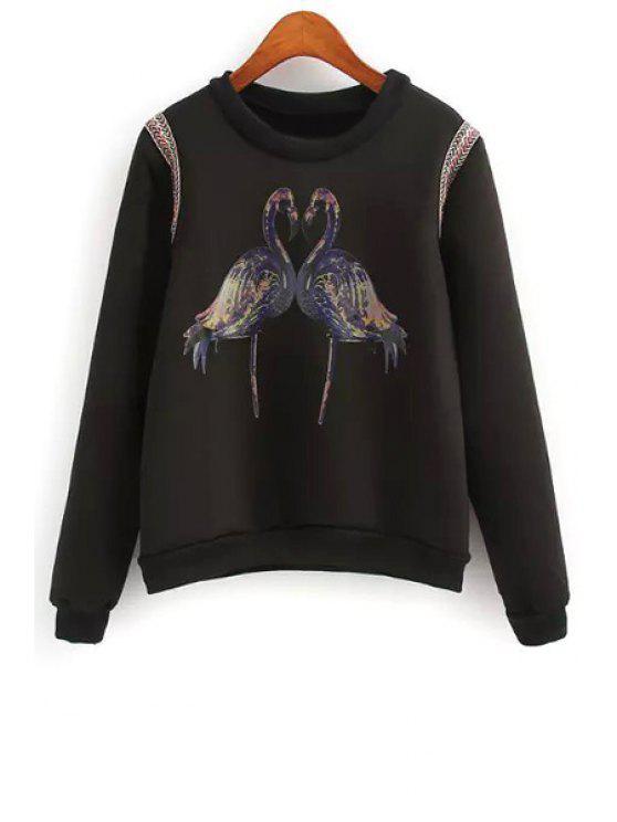 lady Crane Print Long Sleeve Sweatshirt - BLACK S
