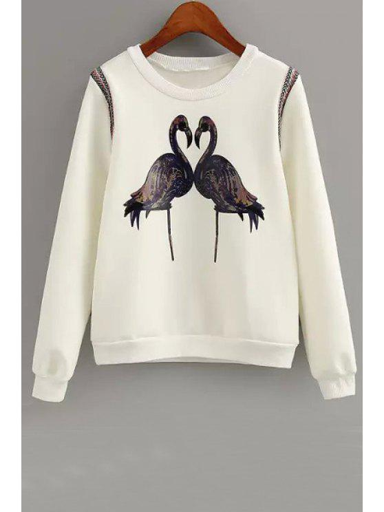 hot Crane Print Long Sleeve Sweatshirt - WHITE M