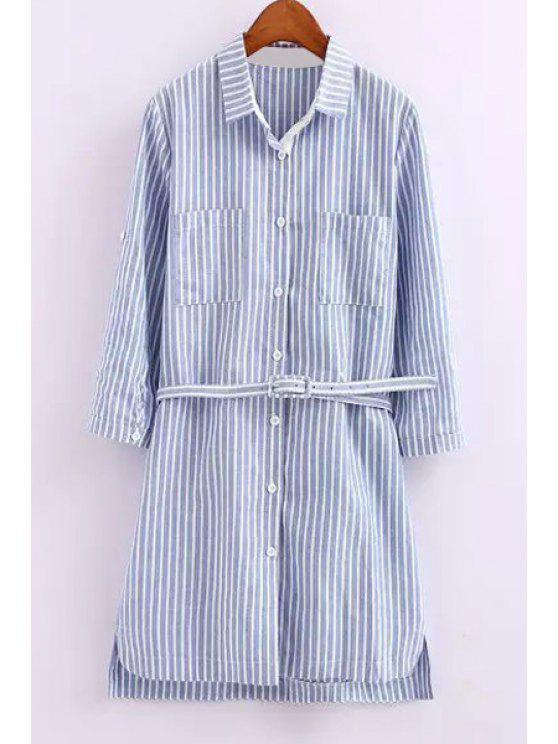 shop Striped Turn Down Collar Long Sleeve Dress - STRIPE S
