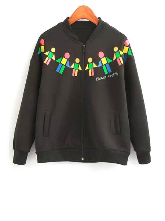 online Geometric Print Stand Neck Jacket - BLACK M