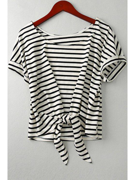 outfits Scoop Neck Striped Self-Tie T-Shirt - BLACK ONE SIZE(FIT SIZE XS TO M)