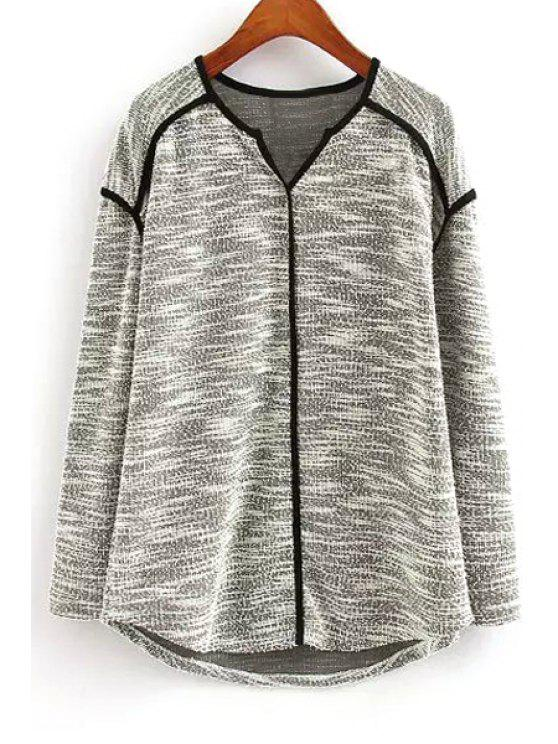 outfit Color Block V Neck Long Sleeve Knitwear - GRAY L