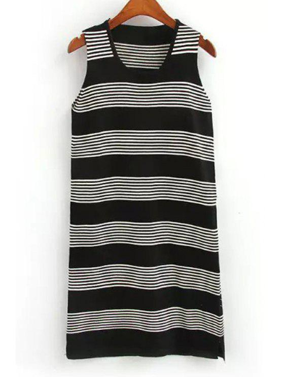 sale Striped Scoop Neck Sweater Sundress - BLACK ONE SIZE(FIT SIZE XS TO M)