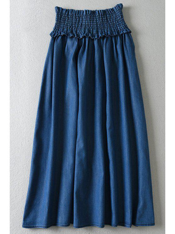 outfits A-Line Long Chambray Skirt - DEEP BLUE ONE SIZE(FIT SIZE XS TO M)