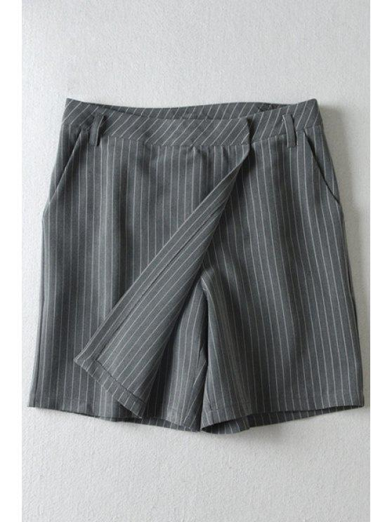 sale Vertical Stripes Pocket Pantskirt - GRAY M