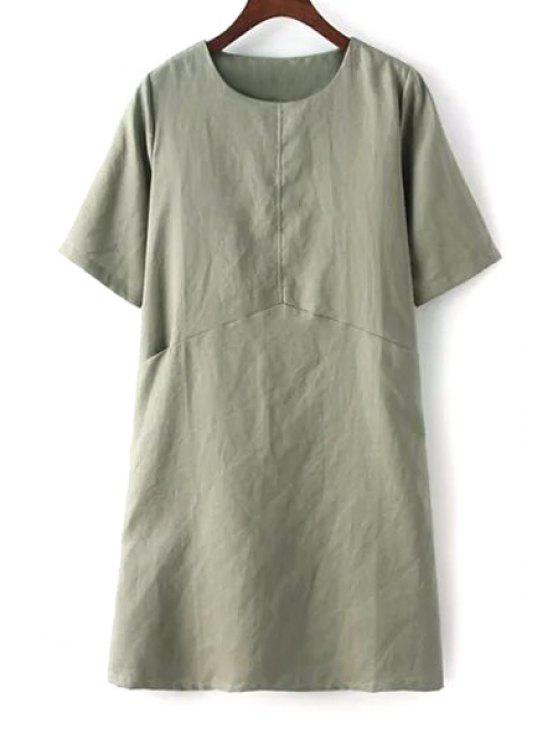 trendy Pure Color Short Sleeve Linen Dress - GREEN ONE SIZE(FIT SIZE XS TO M)
