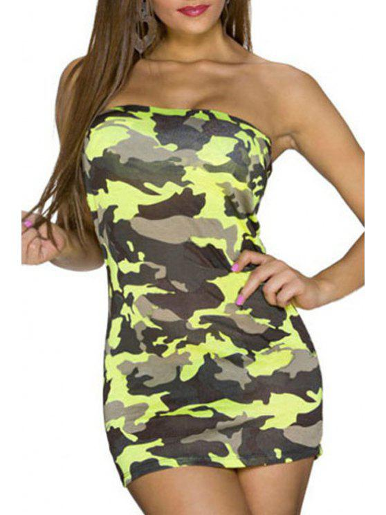 buy Strapless Camouflage Print Sleeveless Dress - YELLOW ONE SIZE(FIT SIZE XS TO M)