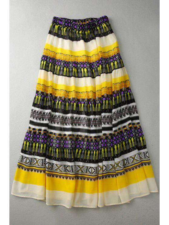 shops Ethnic Pattern Layered Long Chiffon Skirt - COLORMIX S